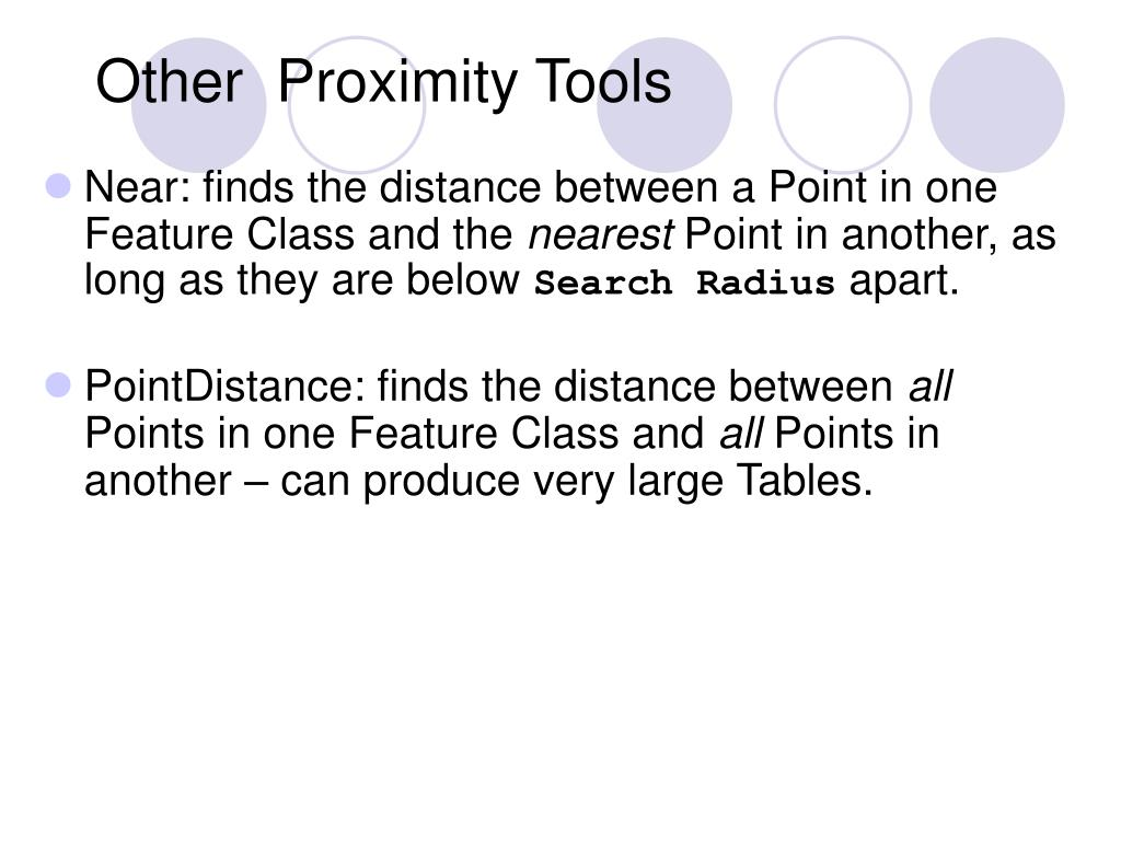 Other  Proximity Tools