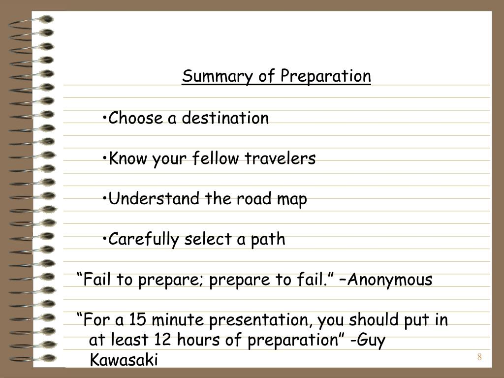 Summary of Preparation