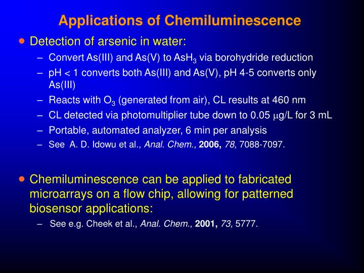 Applications of Chemiluminescence