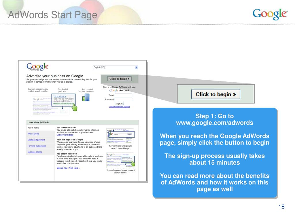AdWords Start Page