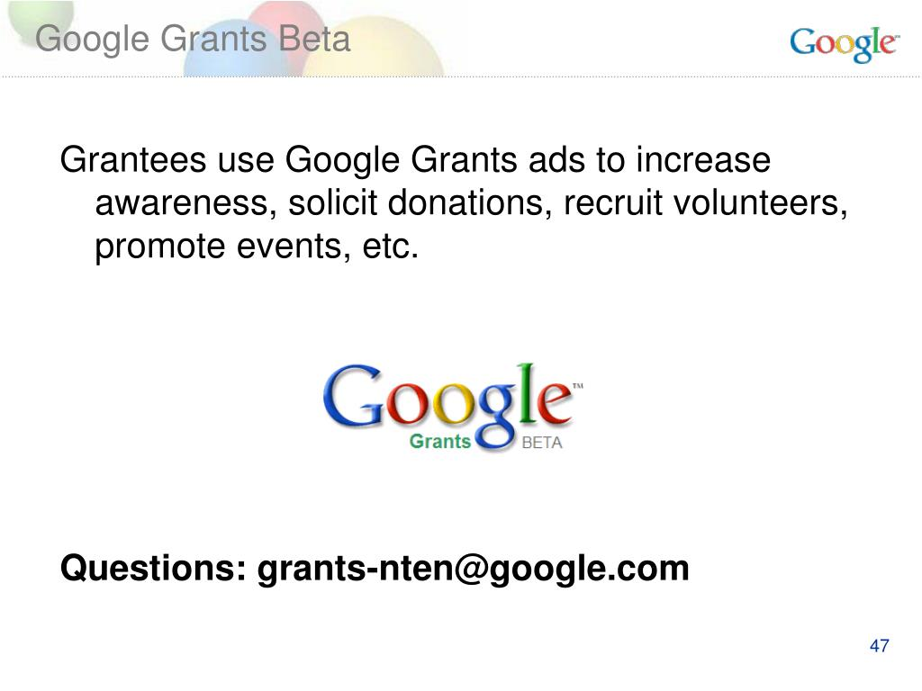 Google Grants Beta