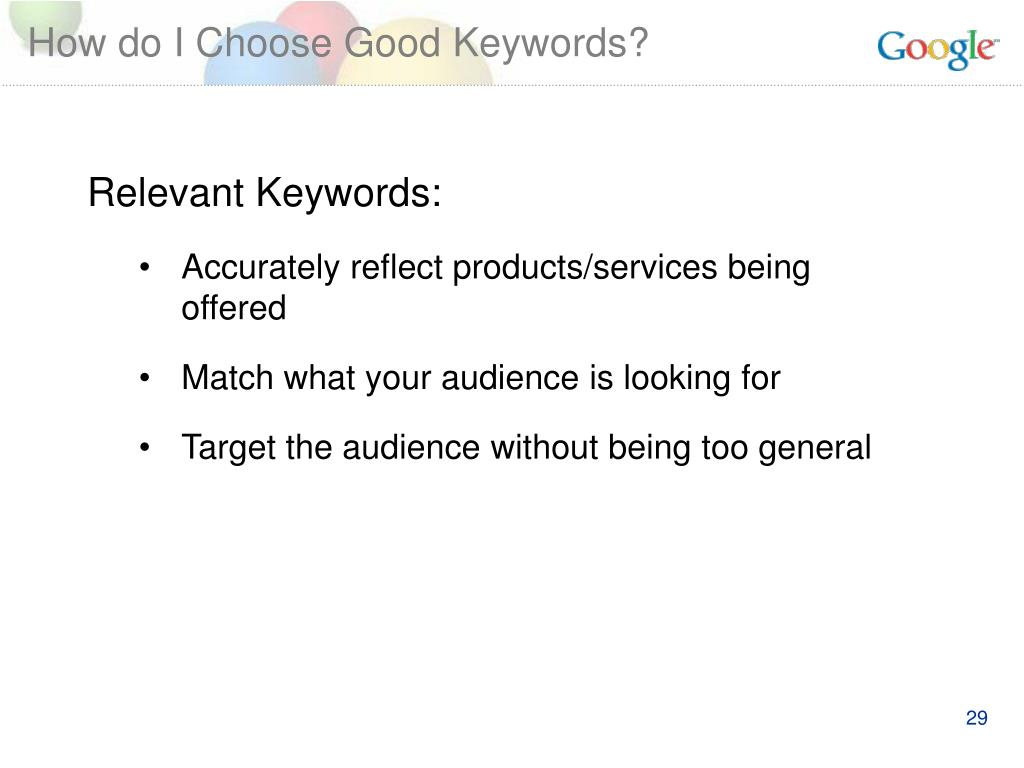 How do I Choose Good Keywords?