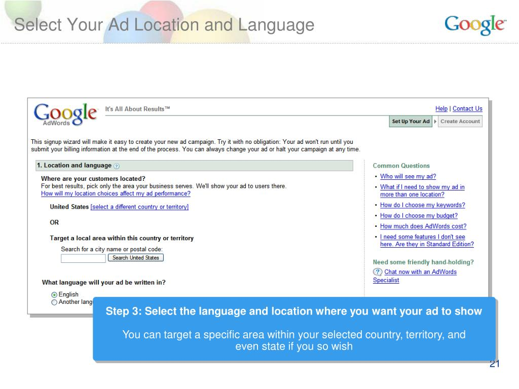 Select Your Ad Location and Language