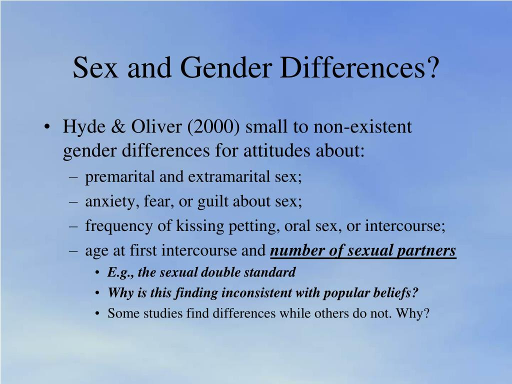Sex and Gender Differences?