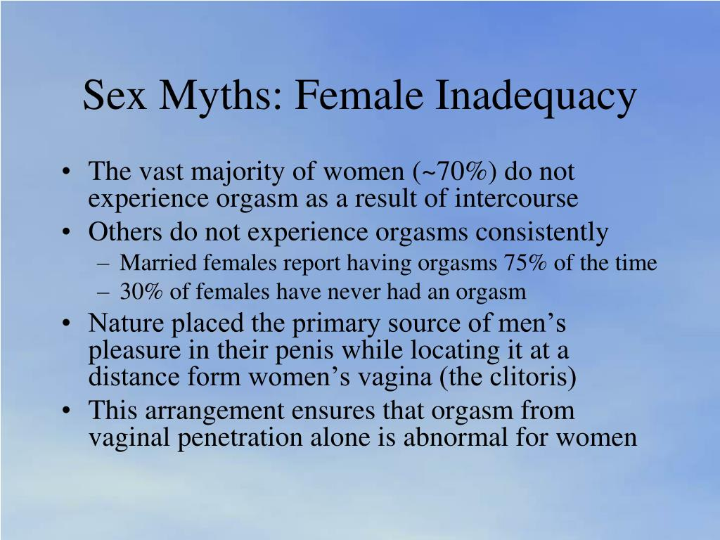 Sex Myths: Female Inadequacy