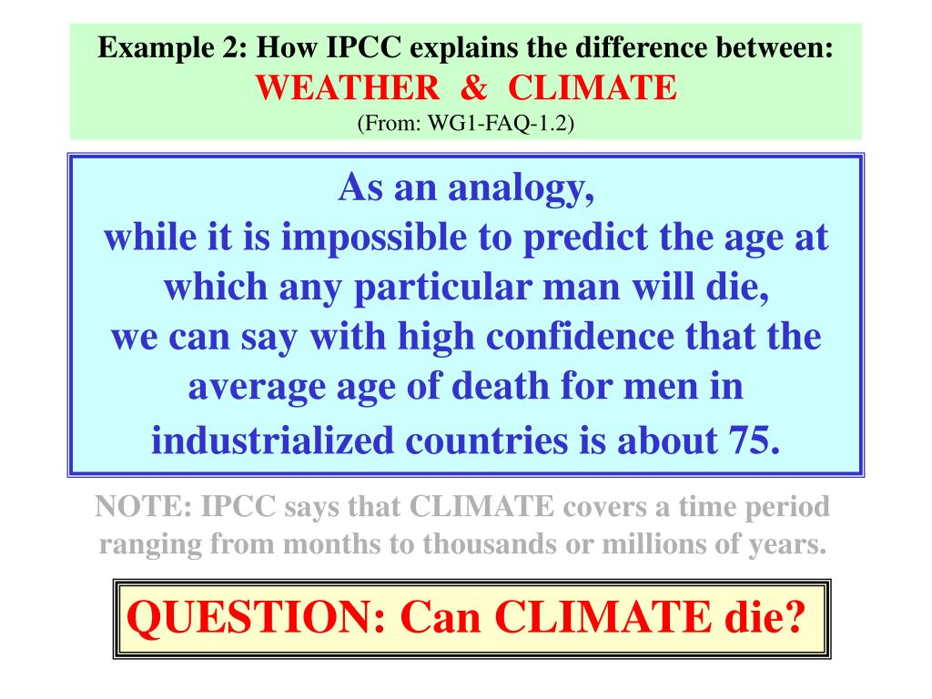 Example 2: How IPCC explains the difference between: