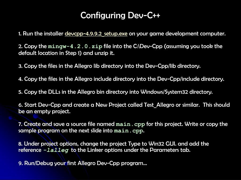 Configuring Dev-C++
