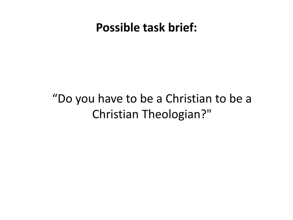Possible task brief: