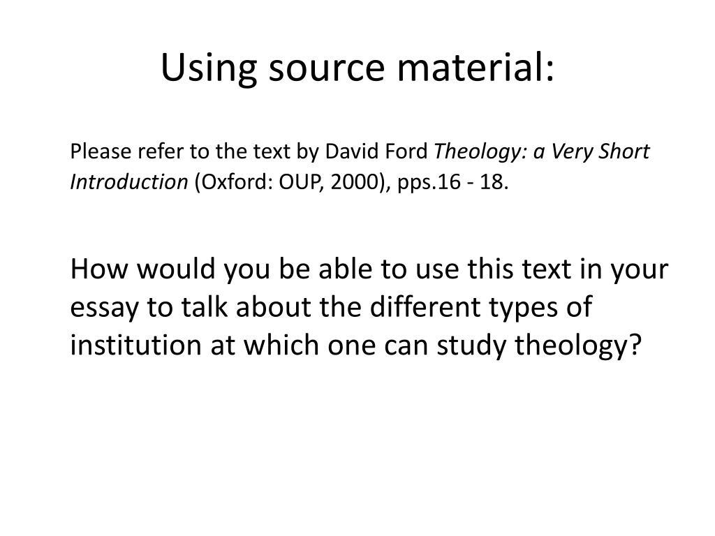 Using source material: