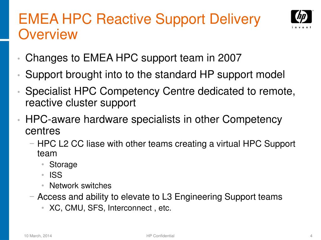 EMEA HPC Reactive Support Delivery