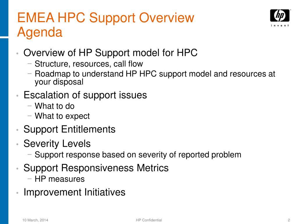 EMEA HPC Support Overview
