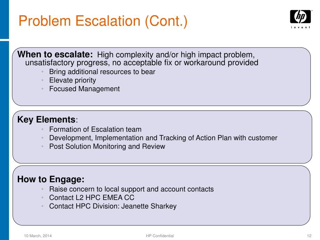 Problem Escalation (Cont.)