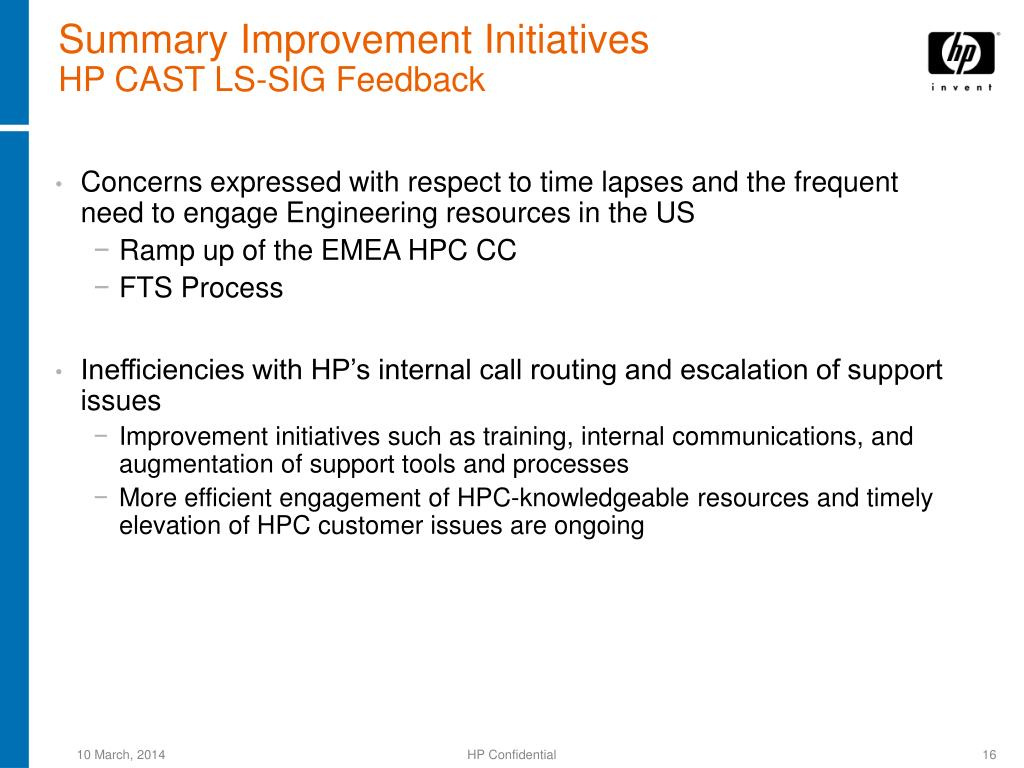 Summary Improvement Initiatives
