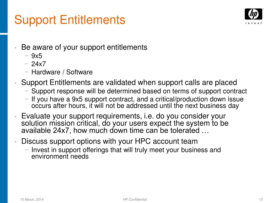 Support Entitlements