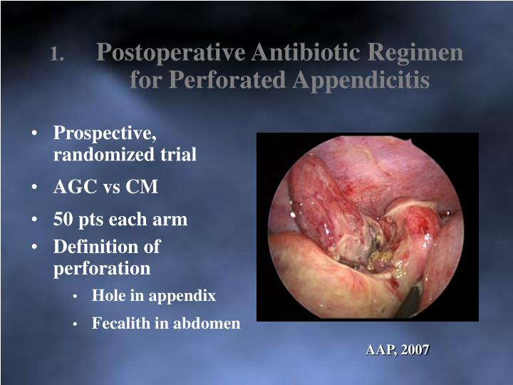 Postoperative Antibiotic Regimen for Perforated Appendicitis