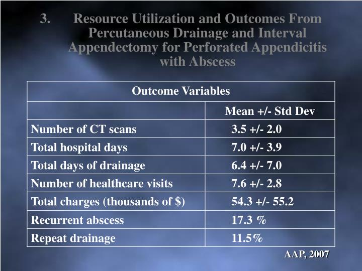 Resource Utilization and Outcomes From Percutaneous Drainage and Interval Appendectomy for Perforated Appendicitis with Abscess