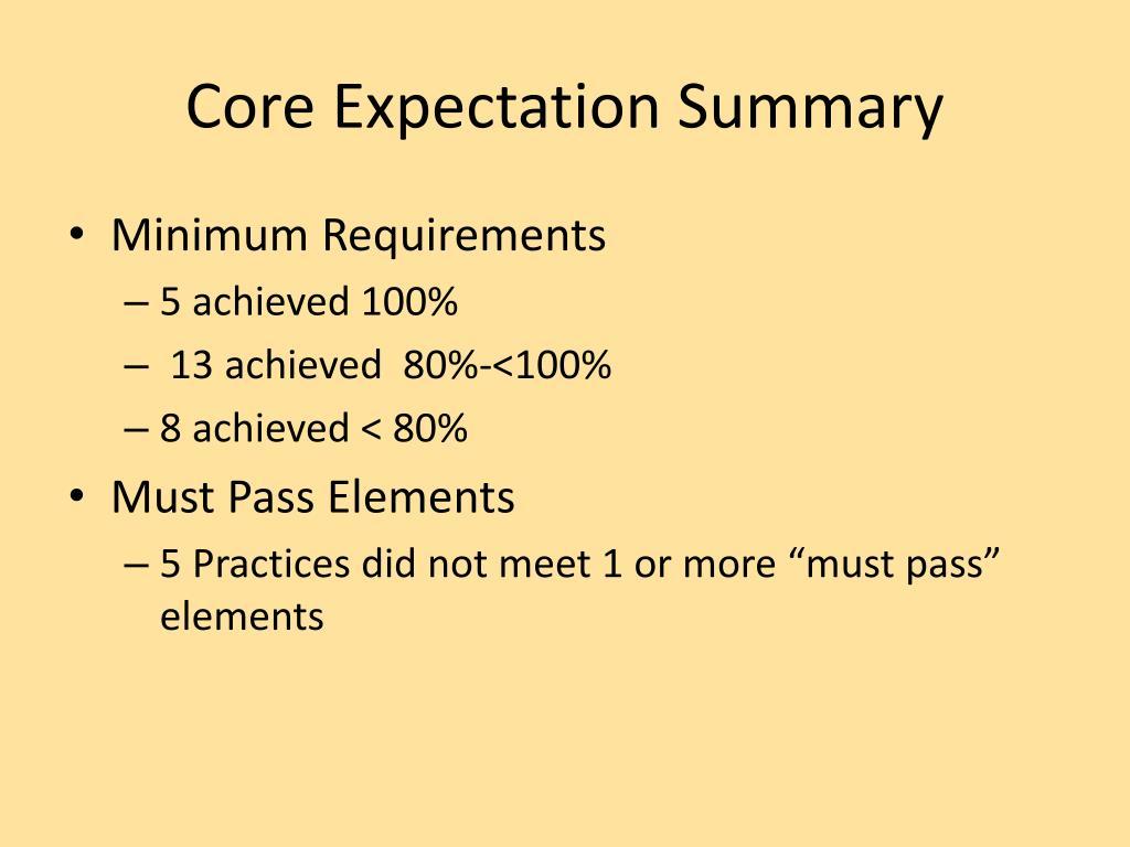 Core Expectation Summary