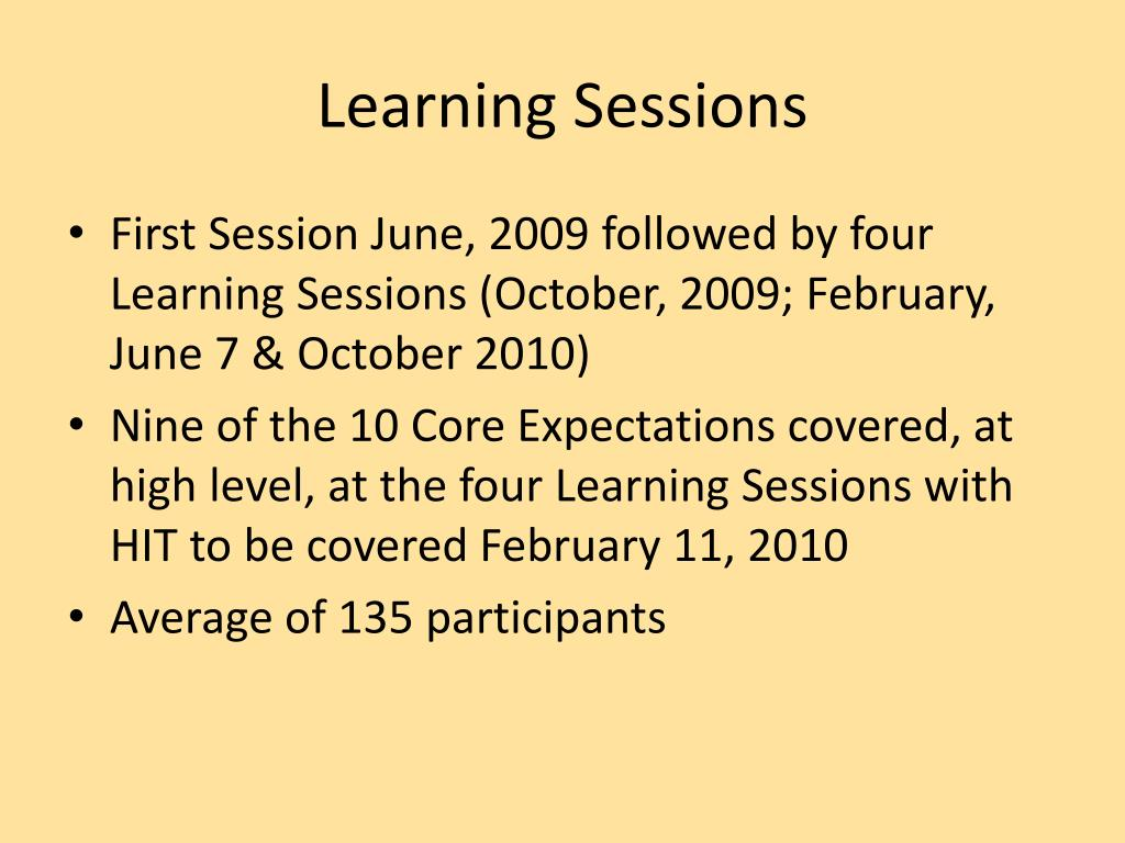 Learning Sessions