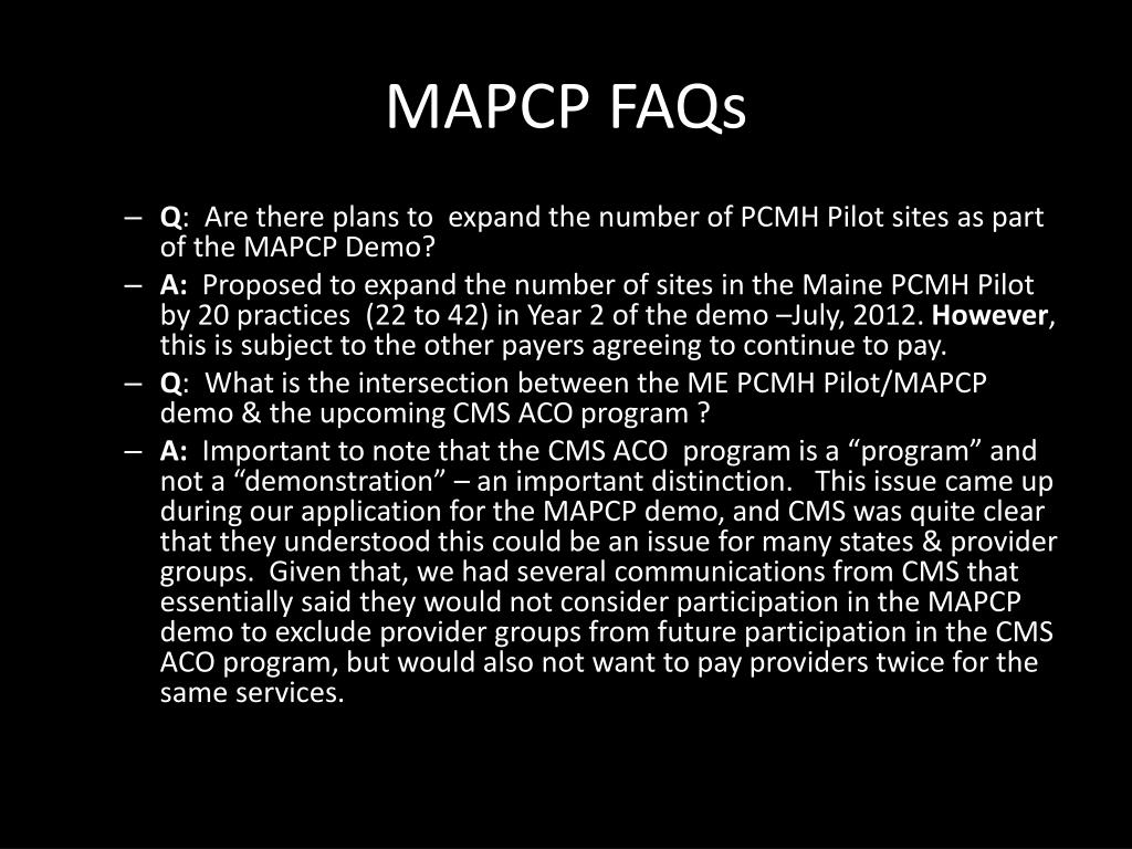 MAPCP FAQs