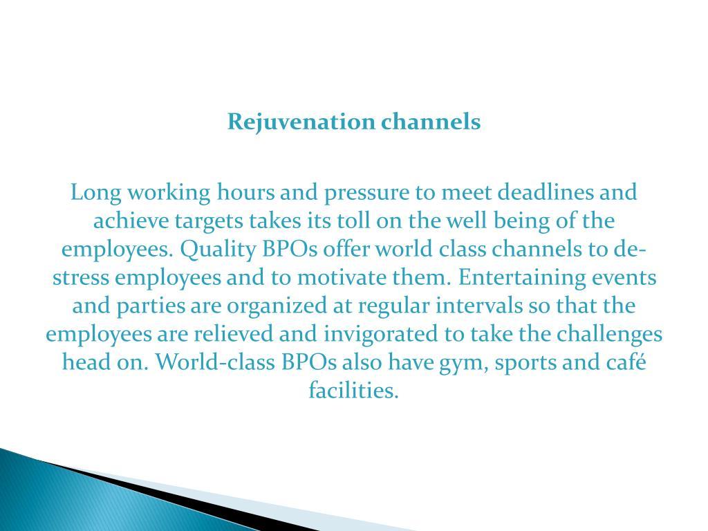 Rejuvenation channels