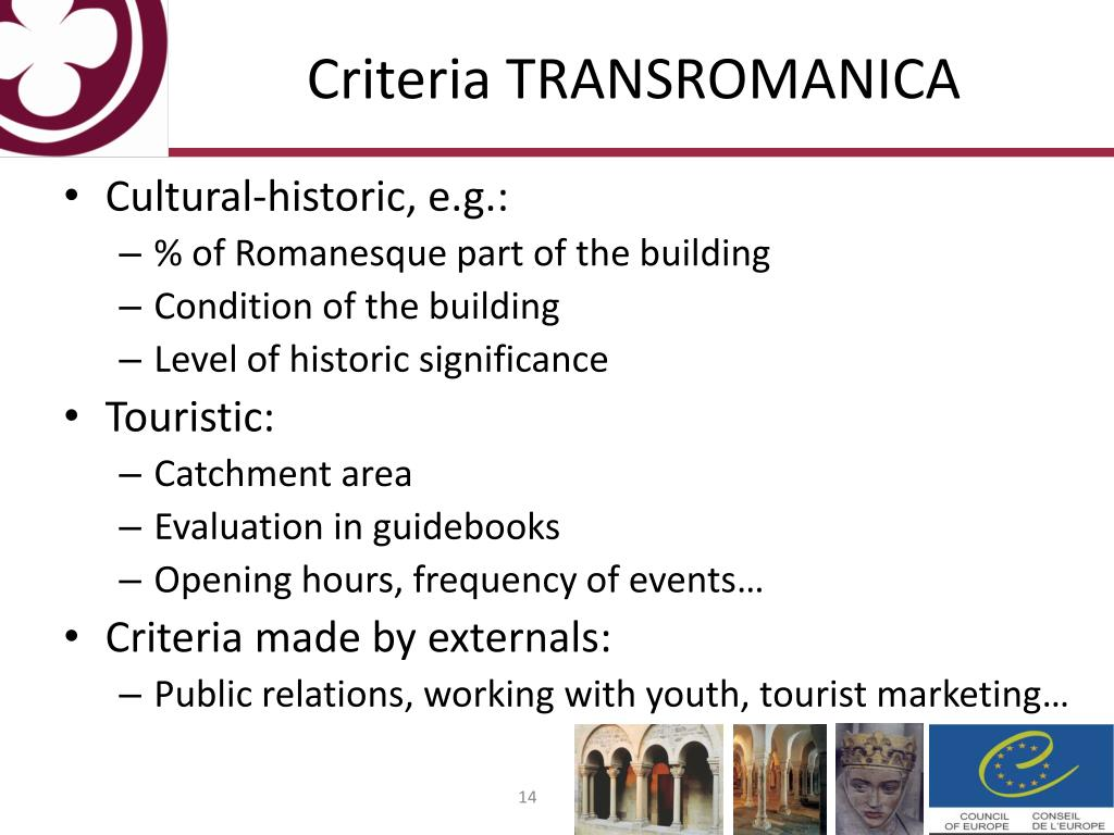 Criteria TRANSROMANICA