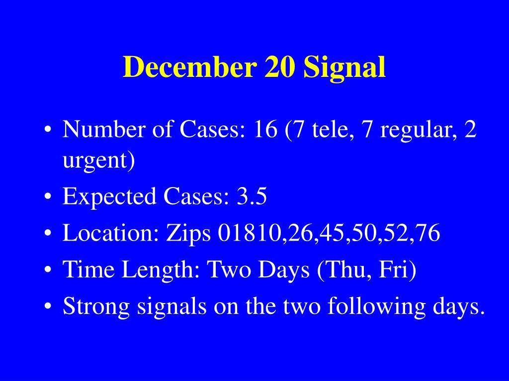 December 20 Signal