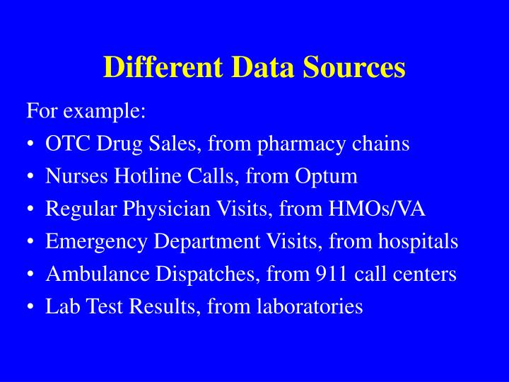 Different data sources