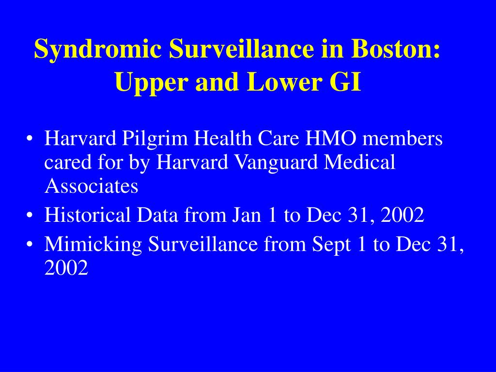 Syndromic Surveillance in Boston: Upper and Lower GI