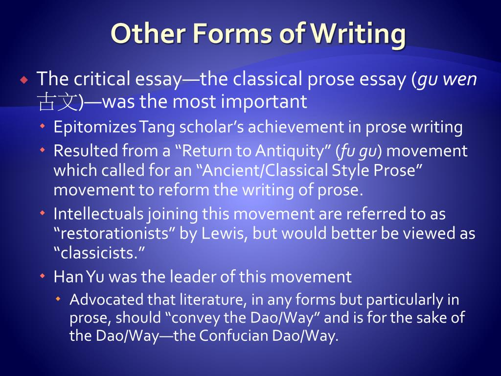 Other Forms of Writing