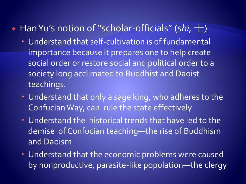 "Han Yu's notion of ""scholar-officials"" ("