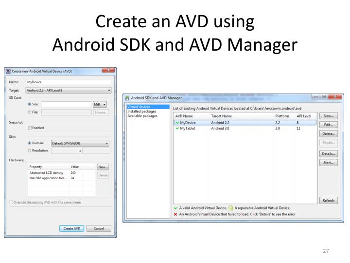Create an AVD using