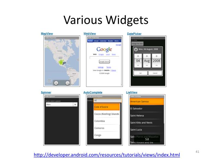 Various Widgets
