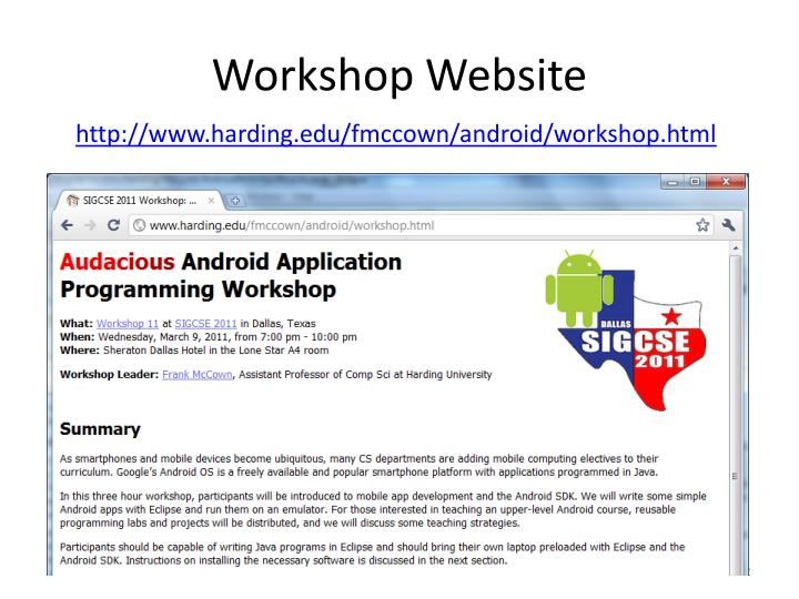 Workshop website