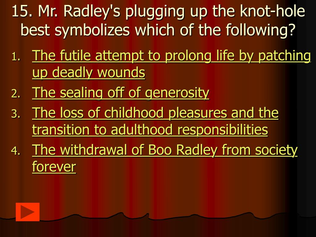 15. Mr. Radley's plugging up the knot-hole best symbolizes which of the following?