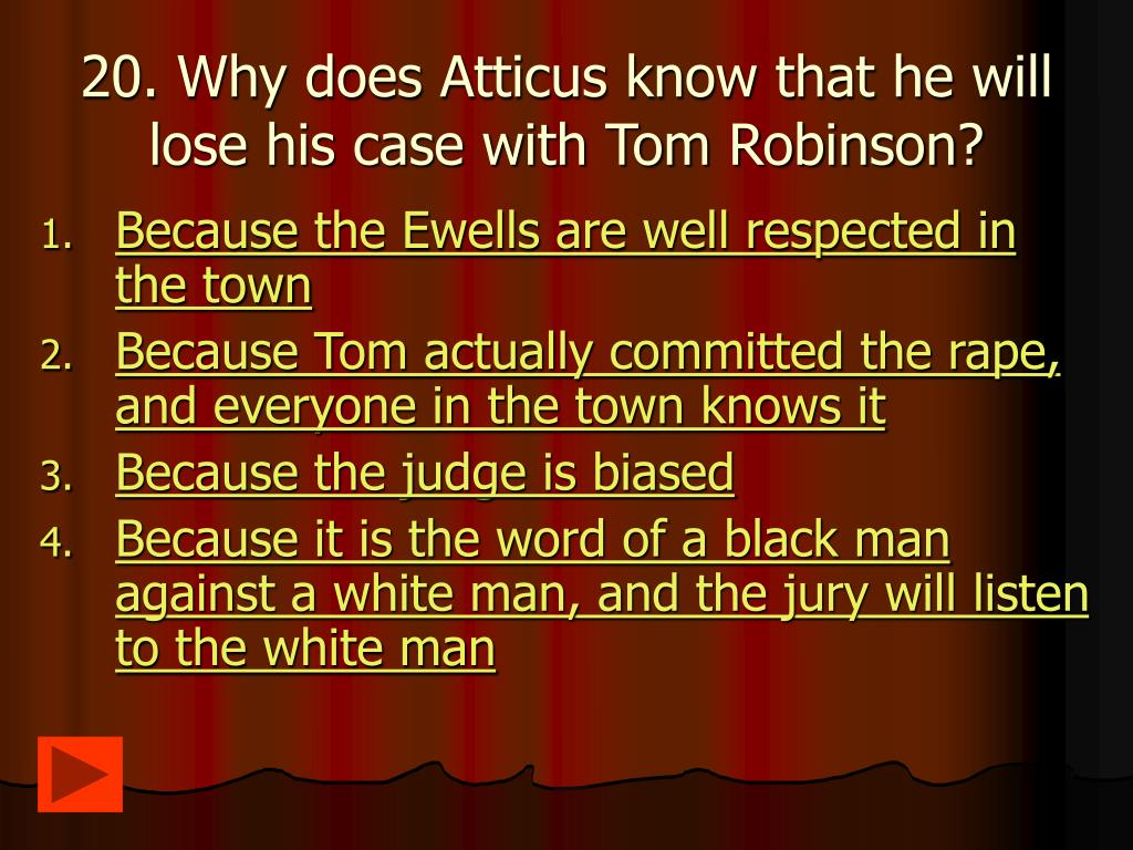 20. Why does Atticus know that he will lose his case with Tom Robinson?
