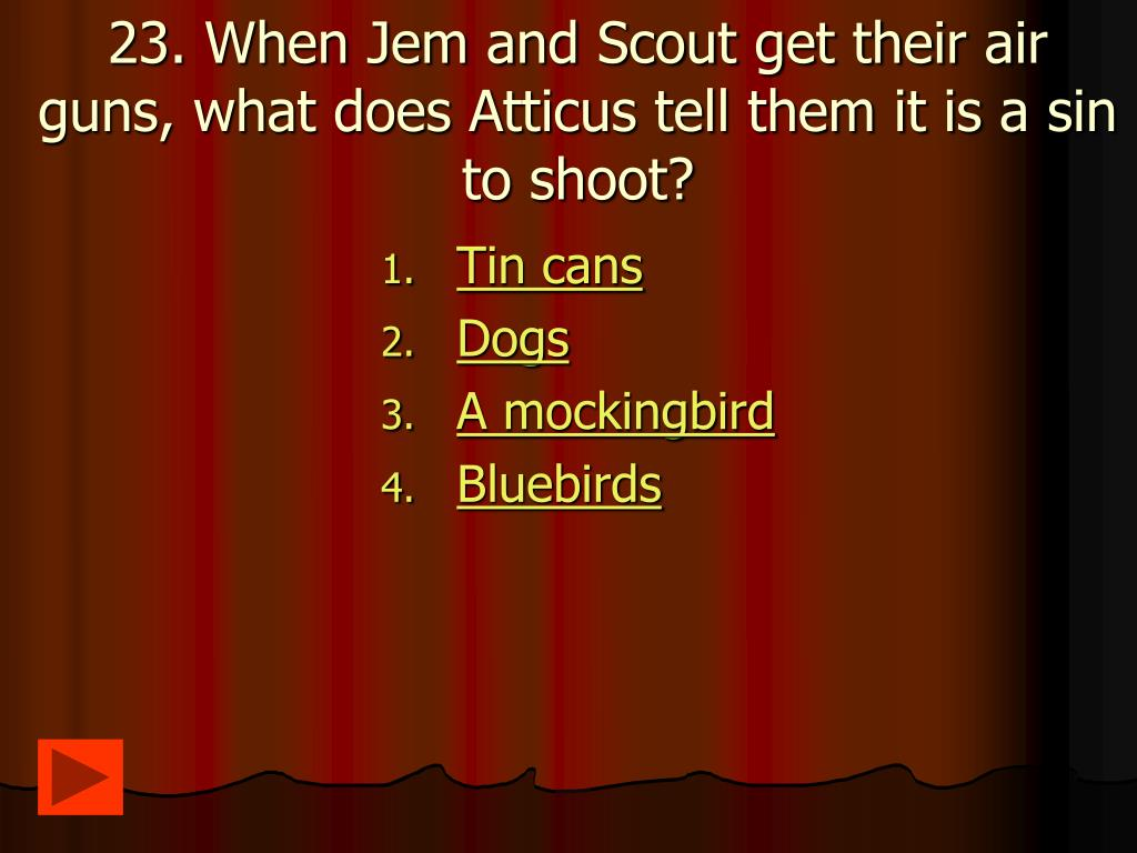 23. When Jem and Scout get their air guns, what does Atticus tell them it is a sin to shoot?