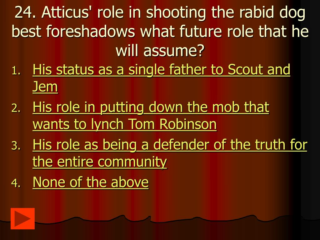 24. Atticus' role in shooting the rabid dog best foreshadows what future role that he will assume?