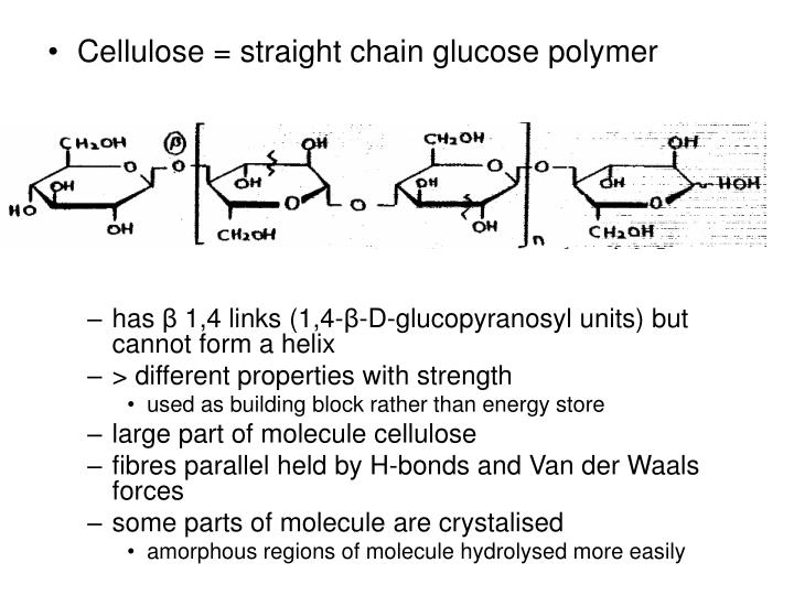 Cellulose = straight chain glucose polymer