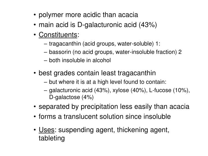 polymer more acidic than acacia