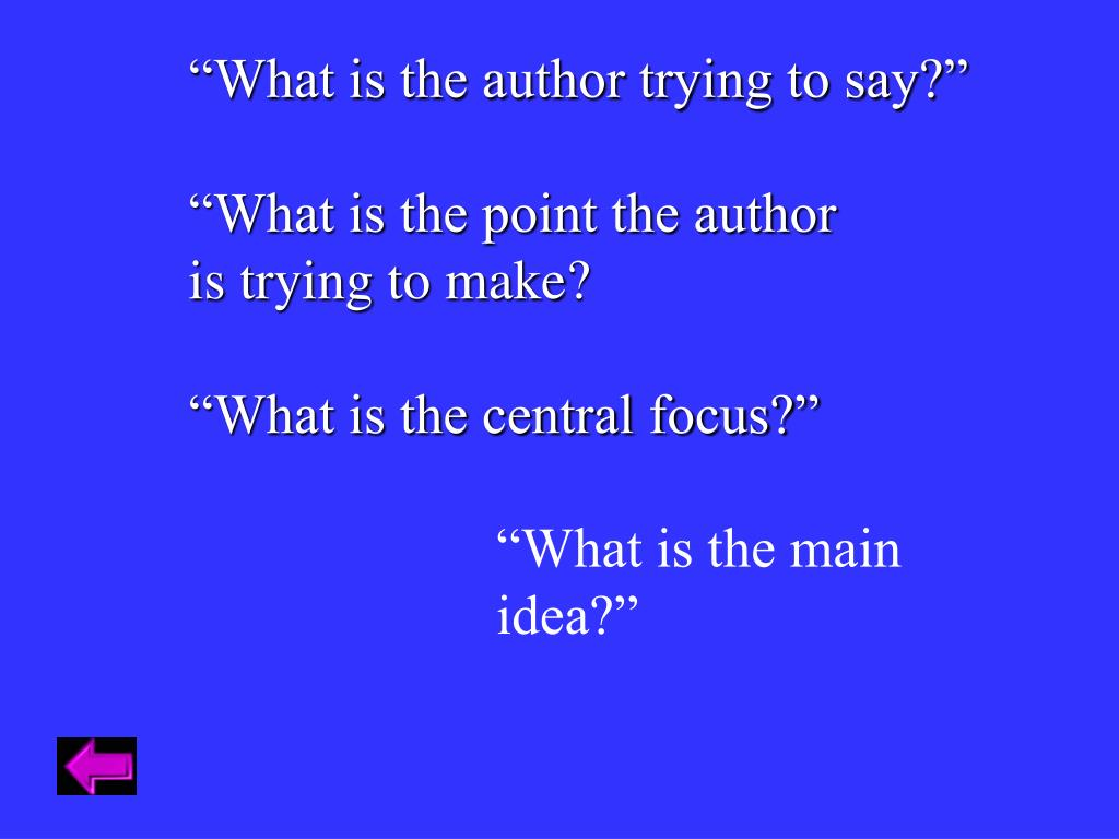 """""""What is the author trying to say?"""""""