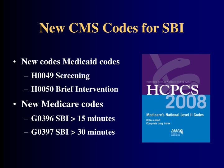 New CMS Codes for SBI