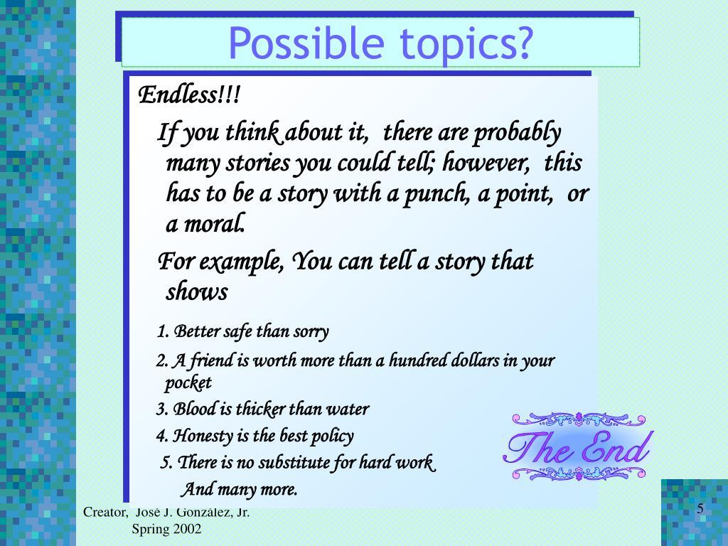 Possible topics?