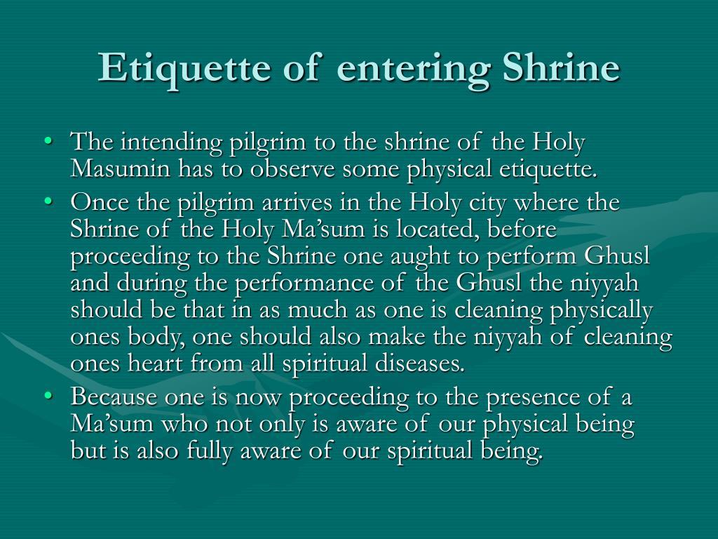 Etiquette of entering Shrine