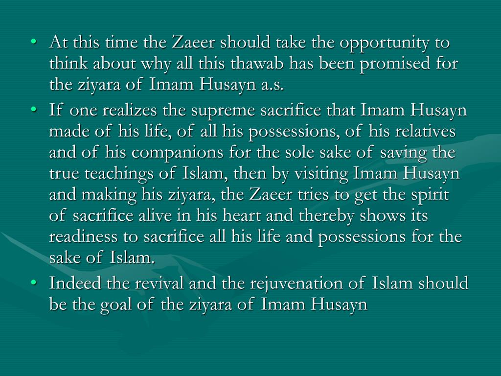 At this time the Zaeer should take the opportunity to think about why all this thawab has been promised for the ziyara of Imam Husayn a.s.