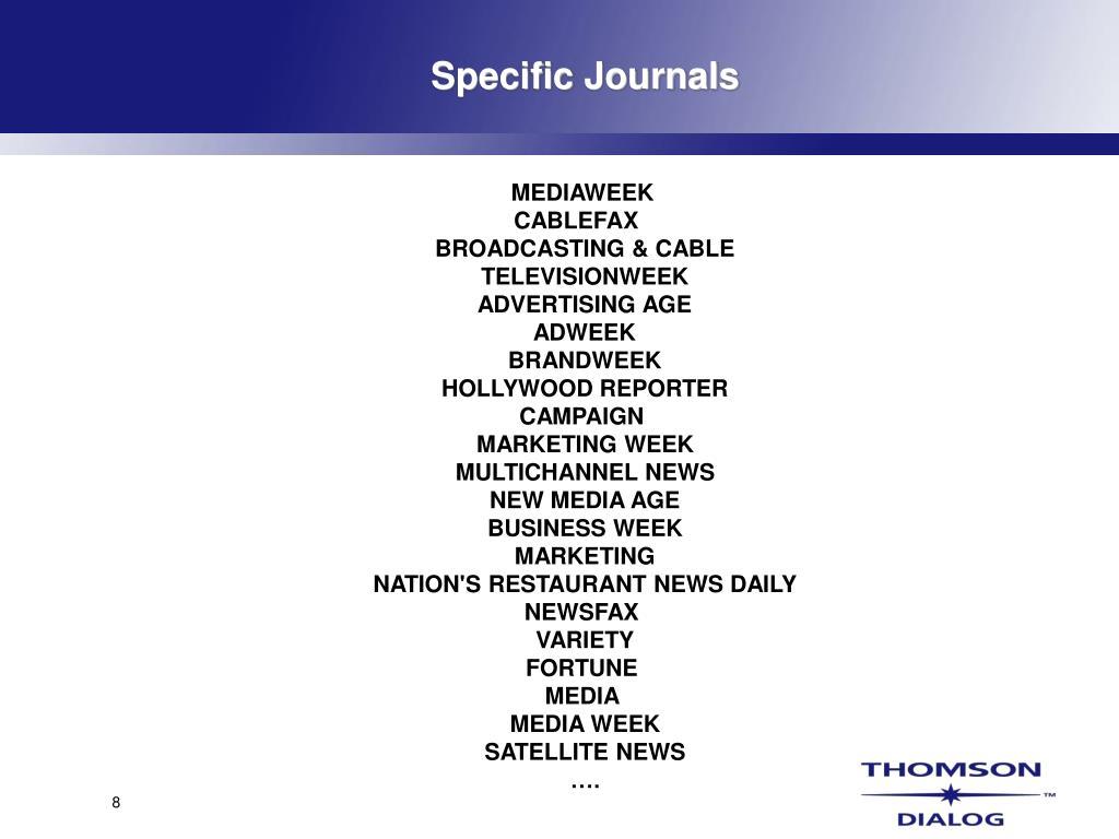 Specific Journals