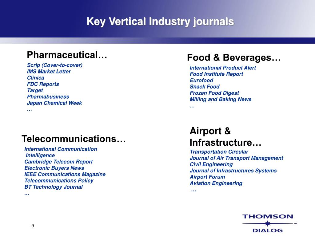 Key Vertical Industry journals