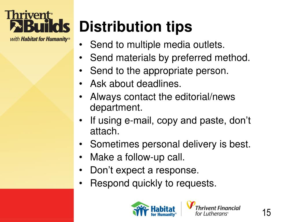 Distribution tips