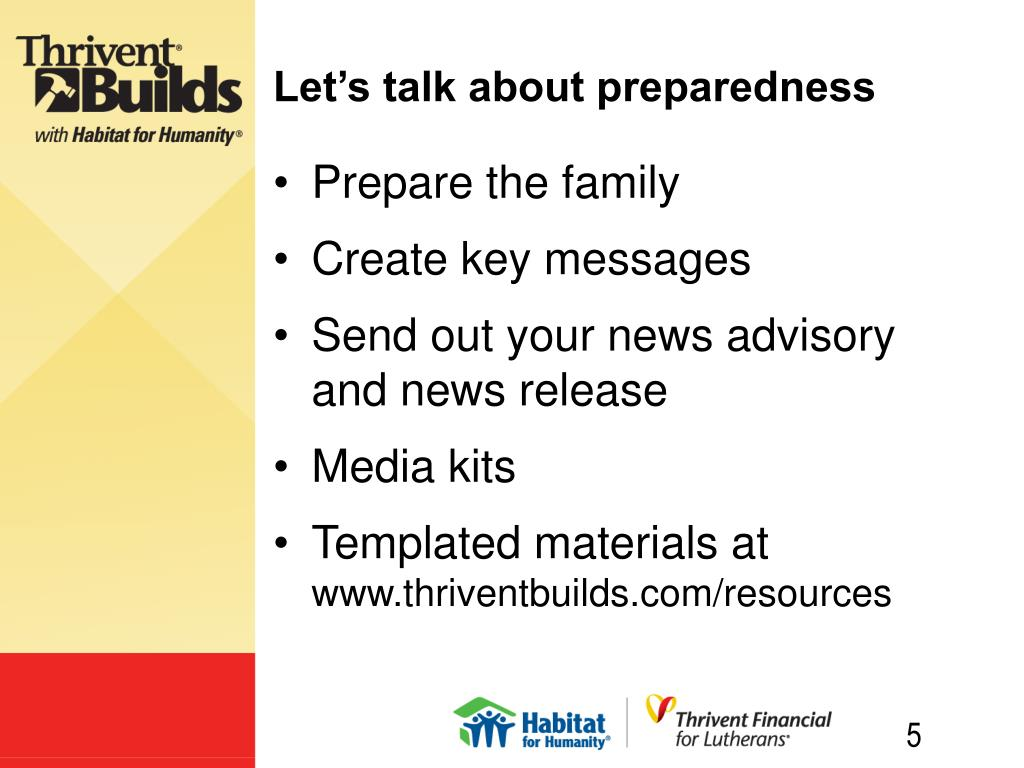 Let's talk about preparedness