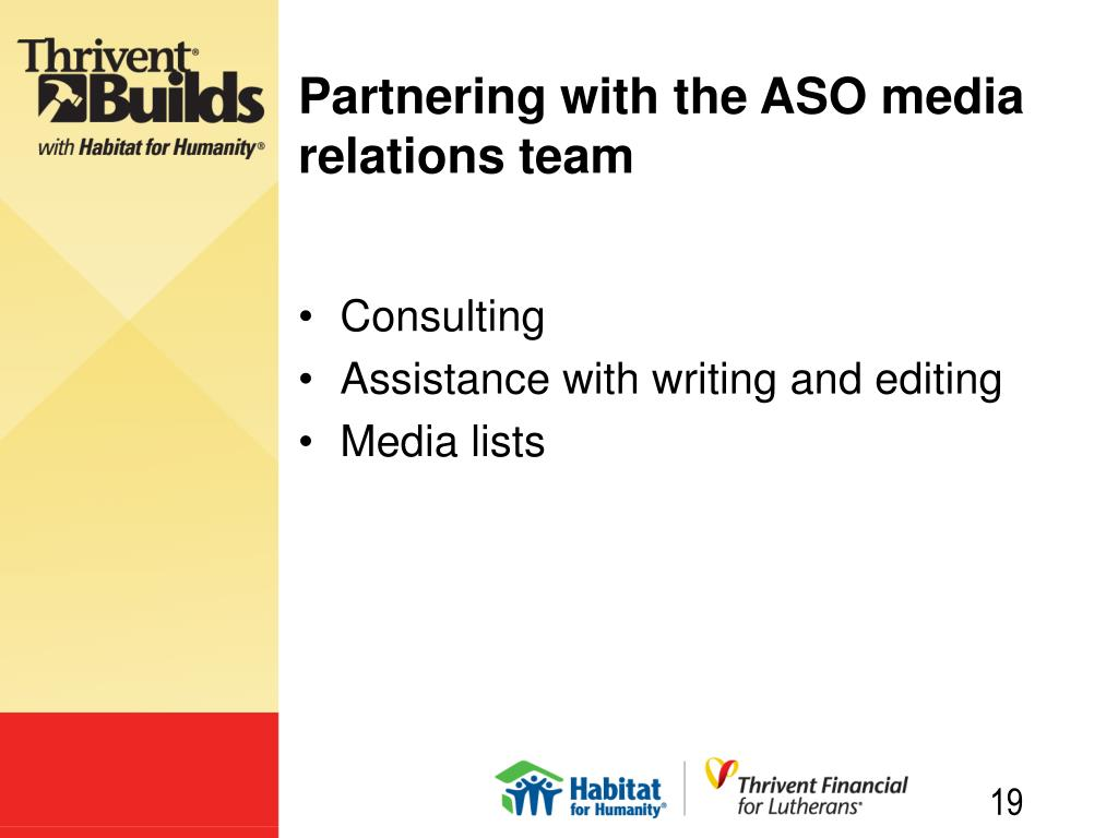 Partnering with the ASO media relations team