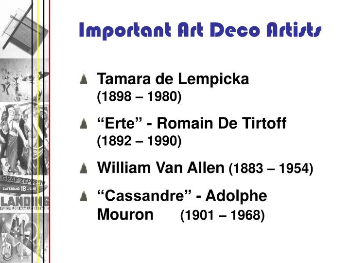 Important Art Deco Artists